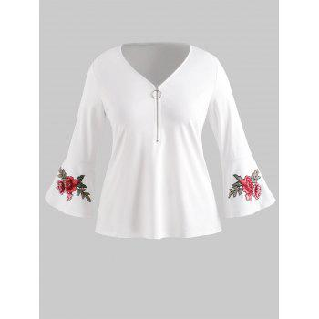 Plus Size Embroidered V Neck Blouse - WHITE 1X