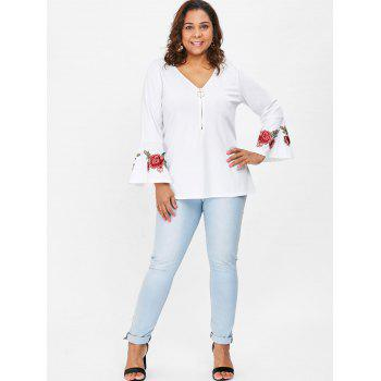 Plus Size Embroidered V Neck Blouse - WHITE 2X