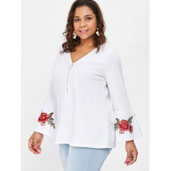 Plus Size Embroidered V Neck Blouse - WHITE 3X