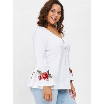 Plus Size Embroidered V Neck Blouse - WHITE 5X
