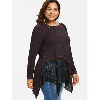 Plus Size Lace Detail Long Sleeve Top - RED 2X