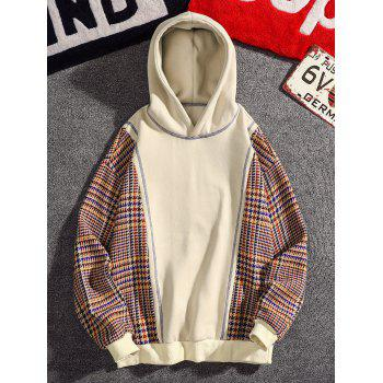 Casual Seam Checked Patch Fleece Hoodie - APRICOT M