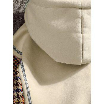 Casual Seam Checked Patch Fleece Hoodie - APRICOT L