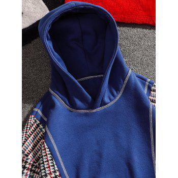 Casual Seam Checked Patch Fleece Hoodie - BLUE 4XL