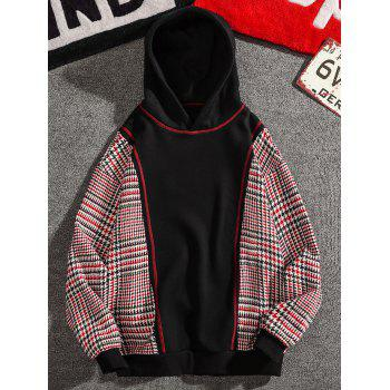 Casual Seam Checked Patch Fleece Hoodie - BLACK L