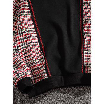 Casual Seam Checked Patch Fleece Hoodie - BLACK 2XL