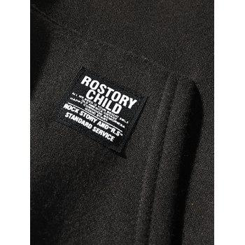 Contrast Letter Patch Detail Pouch Pocket Fleece Hoodie - BLACK XS