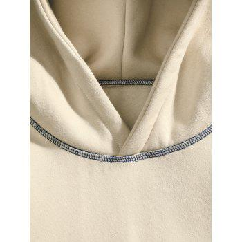 Casual Seam Checked Patch Fleece Hoodie - APRICOT 4XL