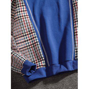 Casual Seam Checked Patch Fleece Hoodie - BLUE M