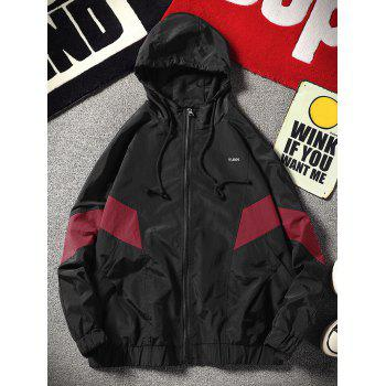 Color Block Zip Pocket Waterproof Hooded Jacket - RED L