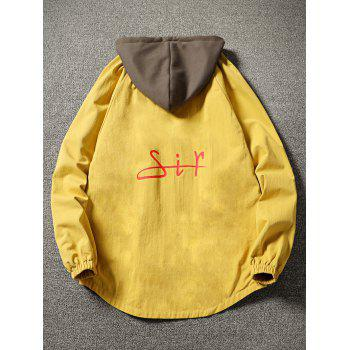 Color Block Side Pockets Hem Curved Zip Up Hooded Jacket - YELLOW XL