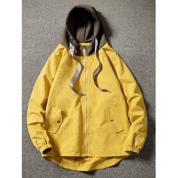 Color Block Side Pockets Hem Curved Zip Up Hooded Jacket - YELLOW L