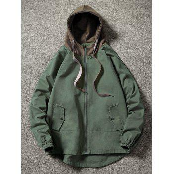 Color Block Side Pockets Hem Curved Zip Up Hooded Jacket - ARMY GREEN XL