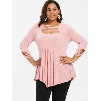 Plus Size Ladder Cut Out A Line T-shirt - LIGHT PINK L