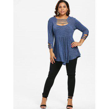 Plus Size Ladder Cut Out A Line T-shirt - STEEL BLUE 5X