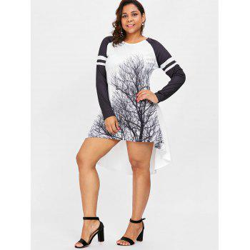 Striped Panel Sleeve Plus Size Tree Print Mini Dress - WHITE 1X