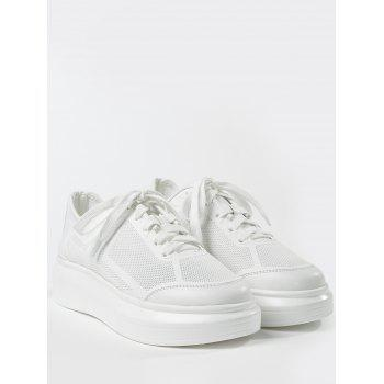Breathable Low Heel Chic Sneakers - WHITE 37