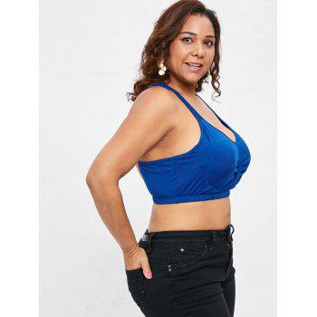 Plus Size Padded Criss Cross Crop Tank Top - BLUE 1X