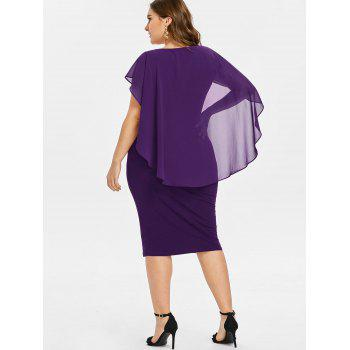 Plus Size Ruched Overlay Fitted Dress - PURPLE IRIS 2X