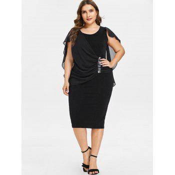 Plus Size Ruched Overlay Fitted Dress - BLACK 3X