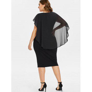 Plus Size Ruched Overlay Fitted Dress - BLACK 5X