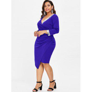 Plunge Plus Size Sequin Embellished Dress - COBALT BLUE 2X