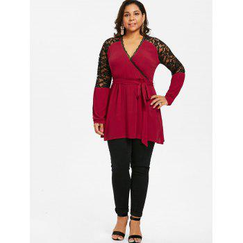 Plus Size Lace Panel Surplice Blouse - RED WINE L