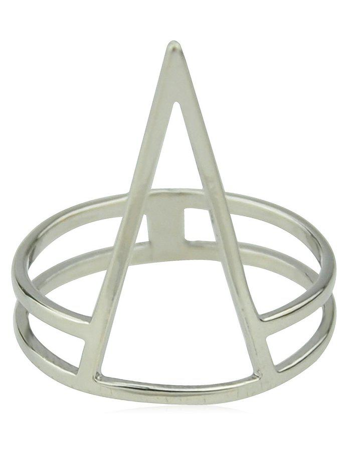 Hollow Geometric Shaped Alloy Finger Ring - SILVER ONE-SIZE