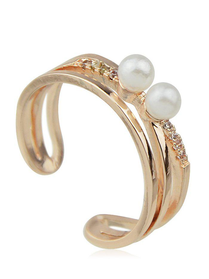 Fake Pearl Hollow Alloy Cuff Finger Ring - GOLD ONE-SIZE