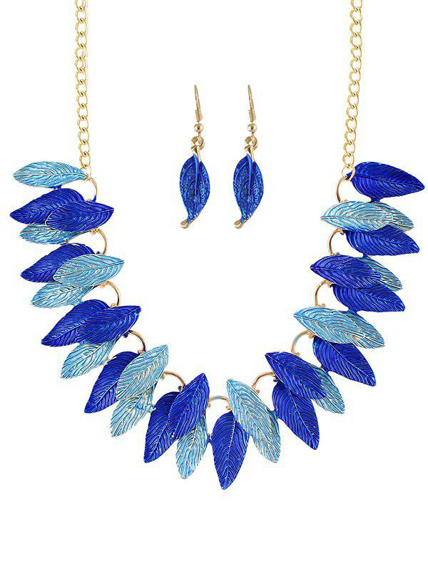 Leaves Decoration Chain Necklace with Earrings - BLUE