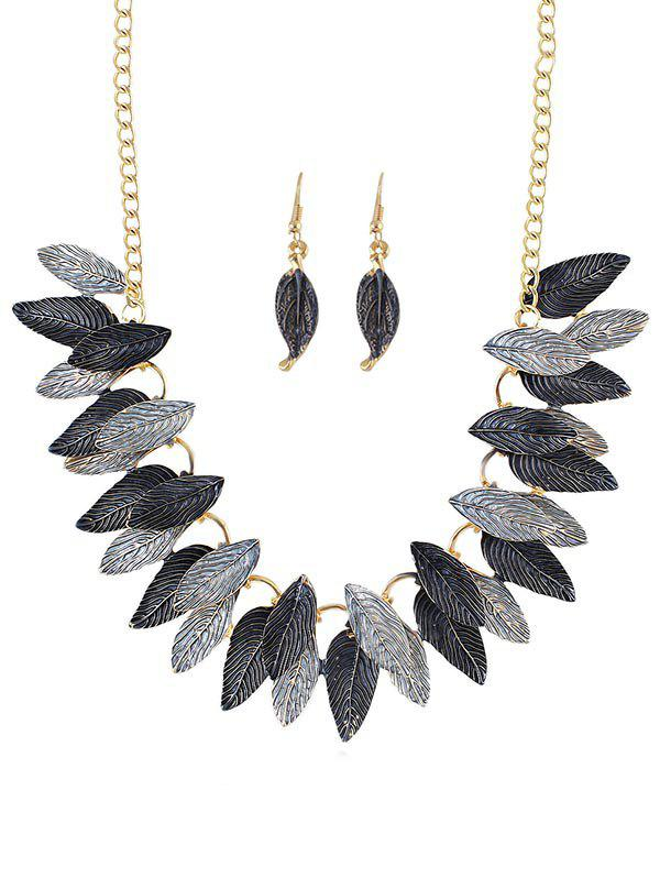 Leaves Decoration Chain Necklace with Earrings - GRAY