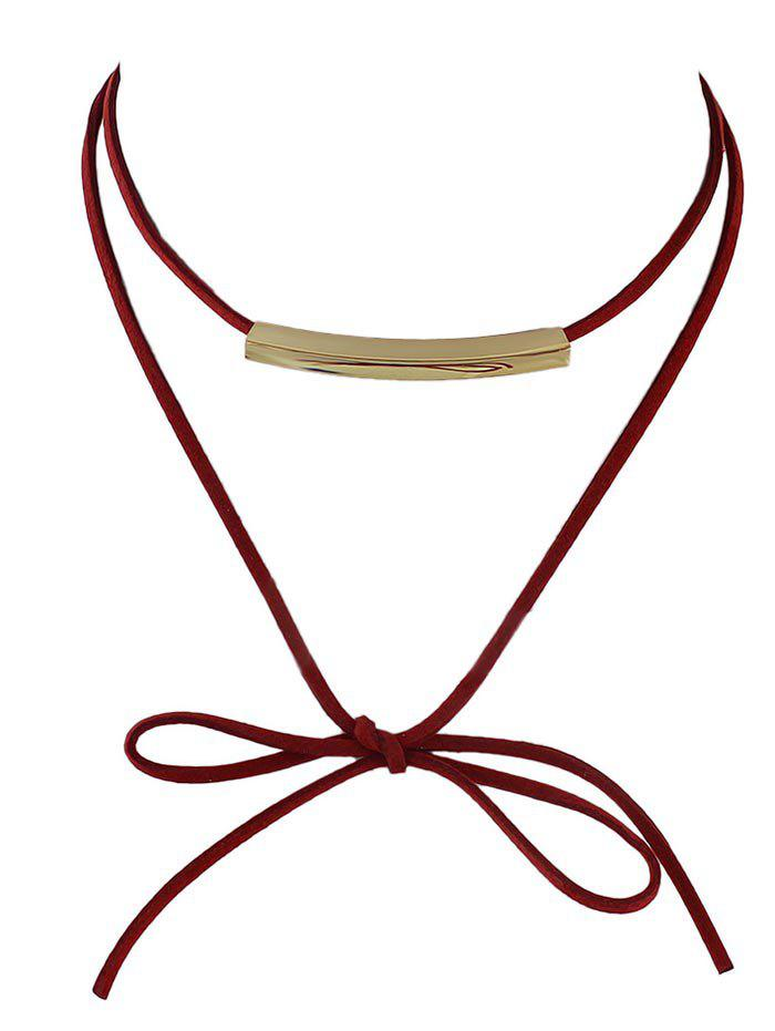 Bowknot Metal Layered Choker Necklace - RED