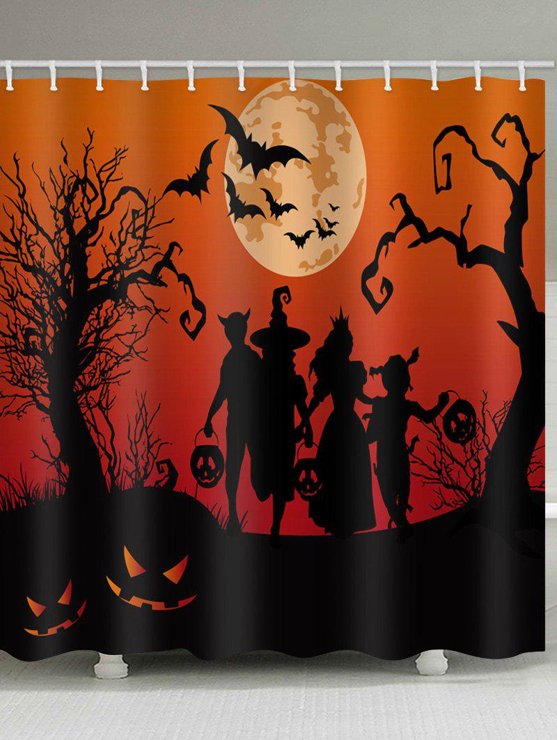 Halloween Moon Family Print Waterproof Shower Curtain - multicolor W71 INCH * L79 INCH