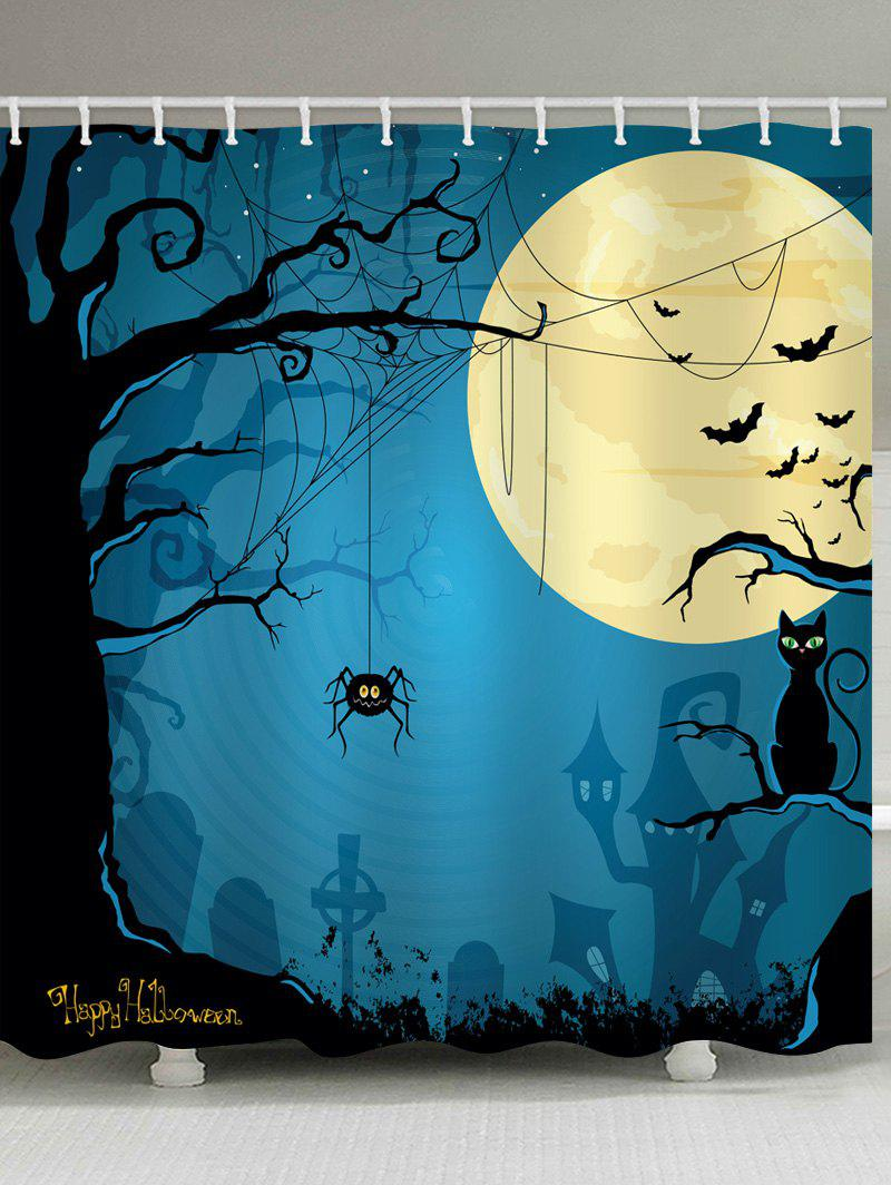 Halloween Moon Tree Print Waterproof Shower Curtain - multicolor W71 INCH * L79 INCH