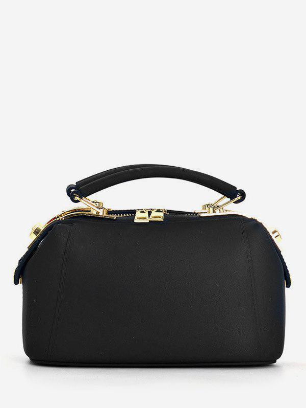 Top Handle Jelly Candy Chic Crossbody Bag - BLACK HORIZONTAL