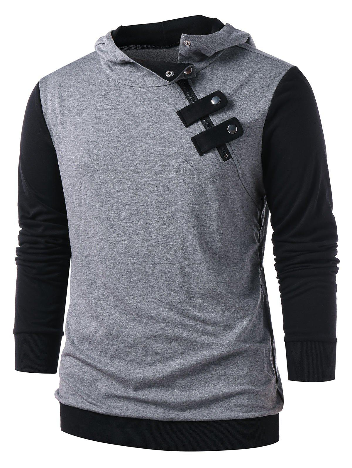 Panel Snap Button Embellished Casual Hoodie - GRAY 2XL