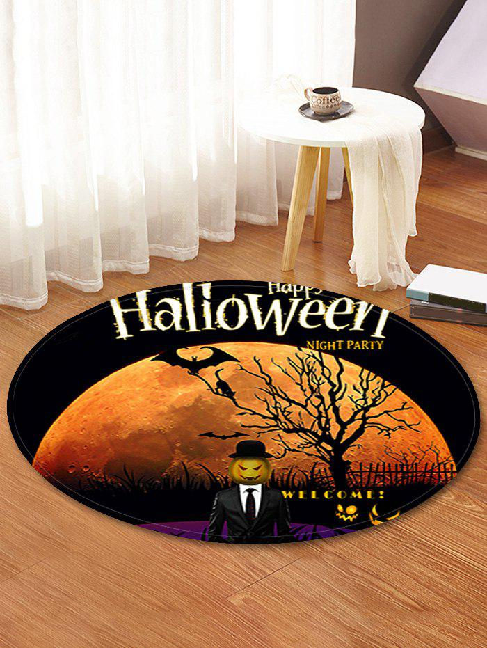 Halloween Moon Tree Pattern Round Flannel Rug