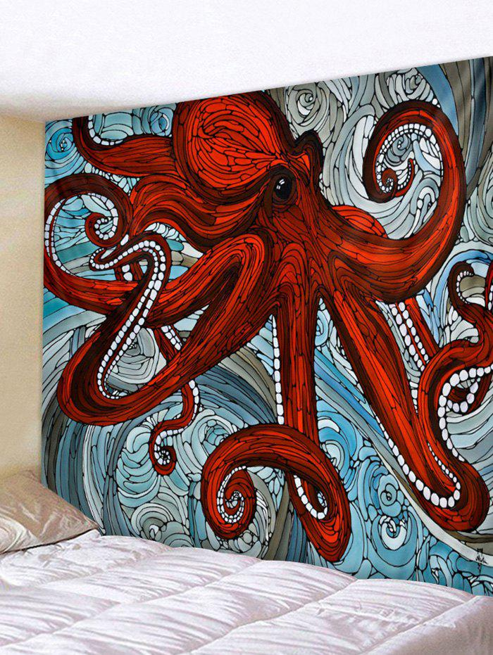 Sea Octopus Print Tapestry Wall Art - CHESTNUT RED W91 INCH * L71 INCH