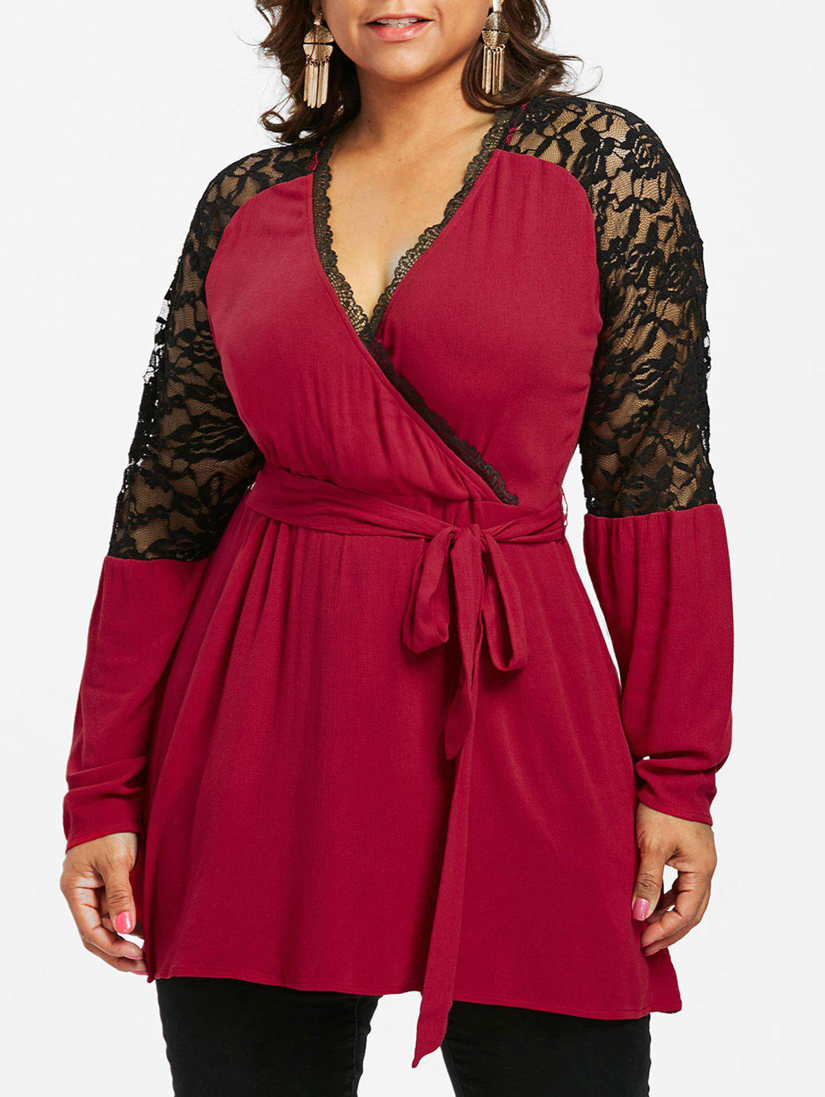 Plus Size Lace Panel Surplice Blouse - RED WINE 1X