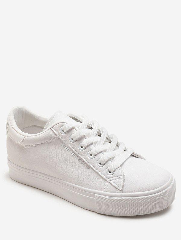 Letter Decoration Low Heel PU Leather Sneakers - SILVER 40