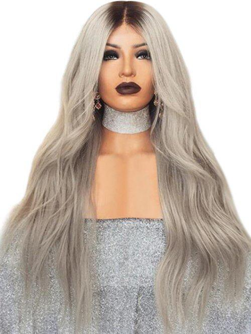 Middle Part Long Ombre Wavy Capless Synthetic Wig - multicolor