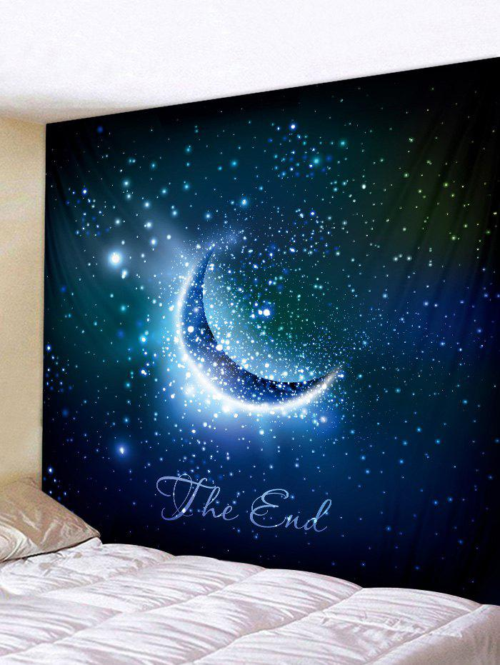 Crescent Starry Sky Print Tapestry Wall Art - multicolor W91 INCH * L71 INCH