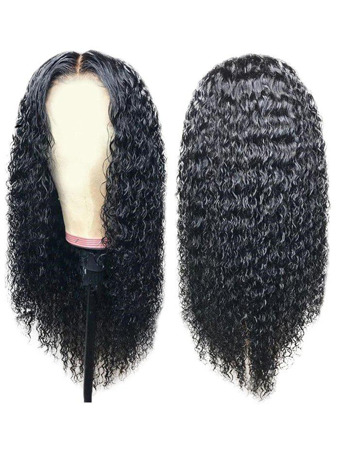 Middle Part Long Curly Capless Synthetic Wig - NATURAL BLACK