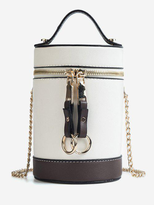 Contrasting Color Metal Chain Bucket Bag - WHITE