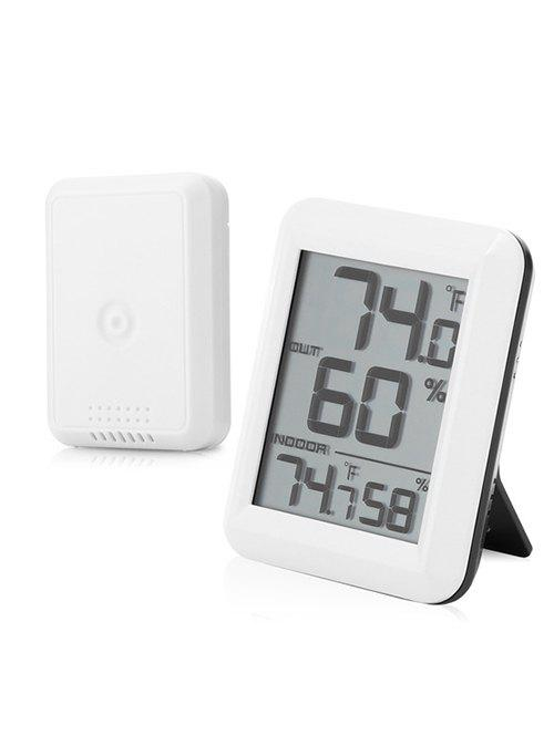 Digital Display Indoor Outdoor Hygrometer Thermometer - WHITE