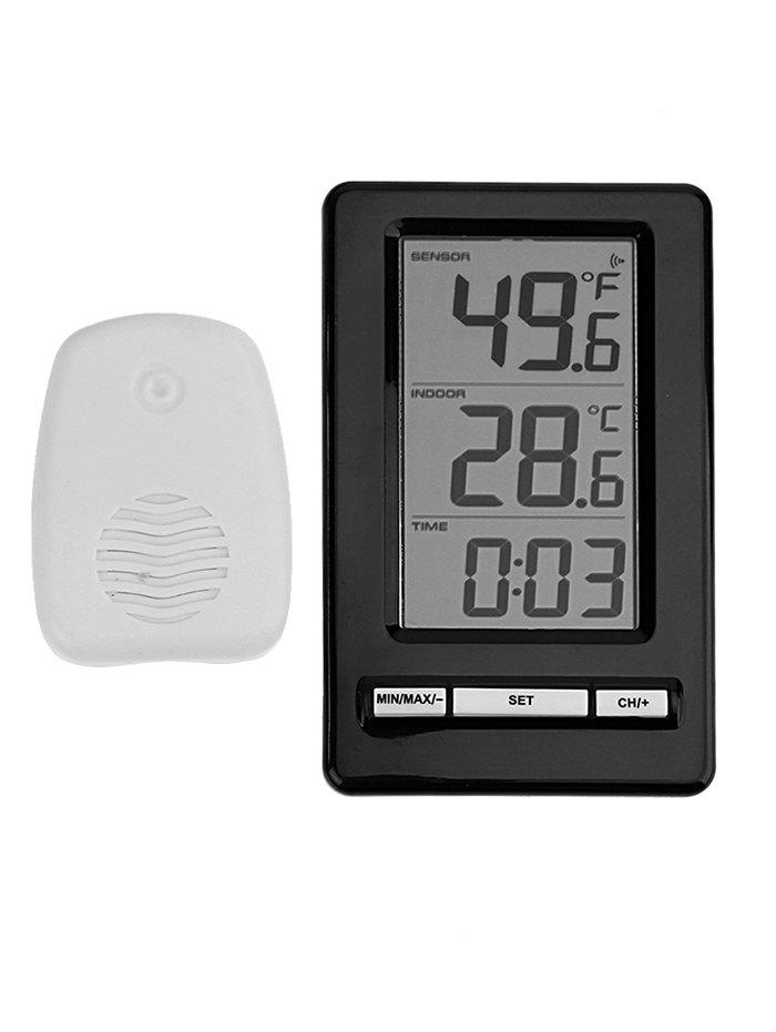 Wireless Indoor Outdoor Thermometer with Clock - BLACK