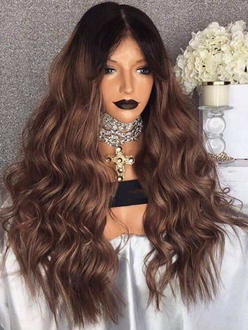 Heat Resistant Synthetic Center Parting Ombre Long Wavy Wig - multicolor