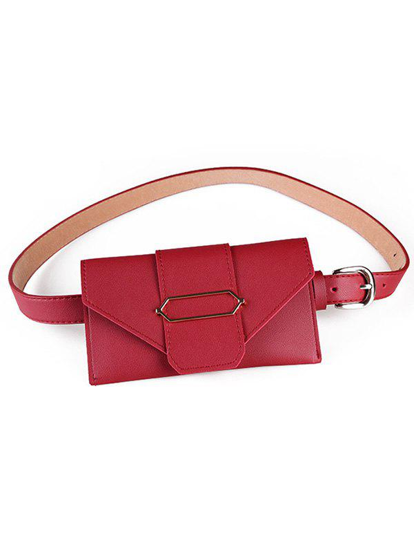 Vintage Funny Bag Faux Leather Belt Bag - RED