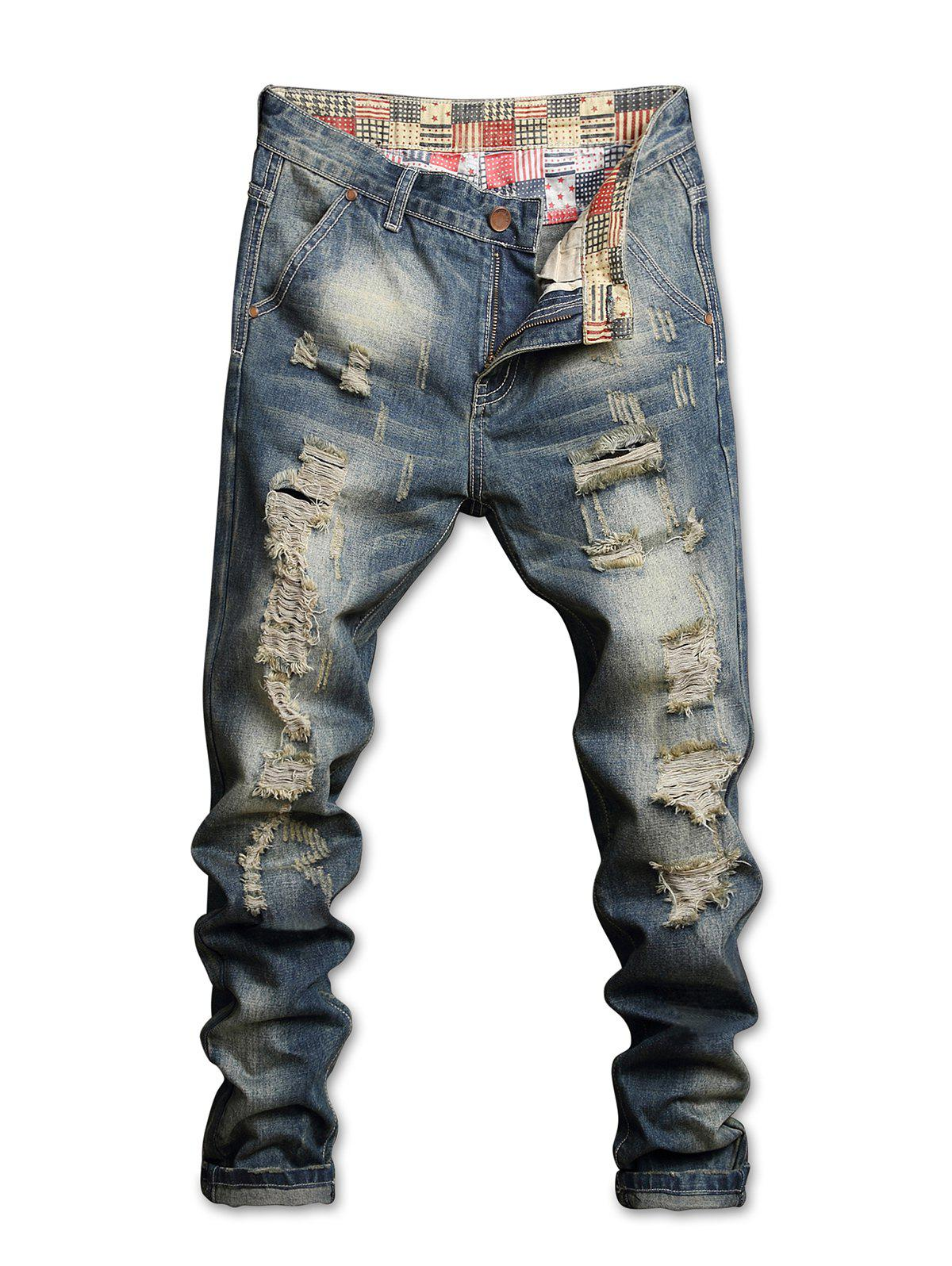 Vintage Waist Patch Ripped Straight Jeans 277061602