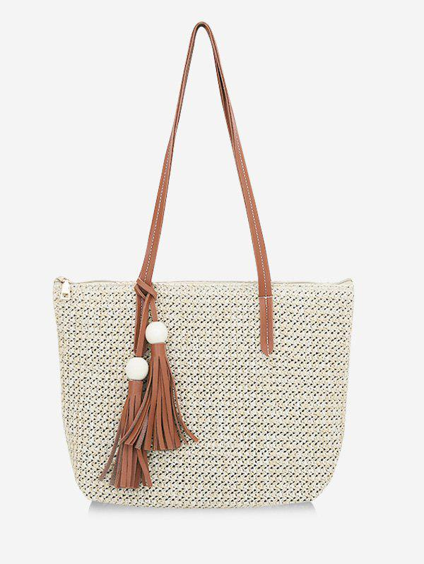 Casual Large Capacity Woven Tote Bag - LIGHT KHAKI